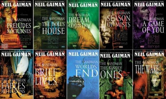 A divisão da série em 10 volumes. Capas de Dave McKean.