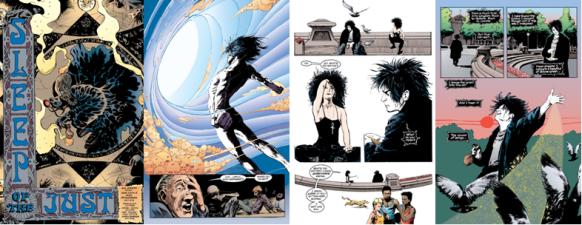 Páginas de Sandman 1 e 8. Arte de Sam Kieth e Mike Dringenberg.