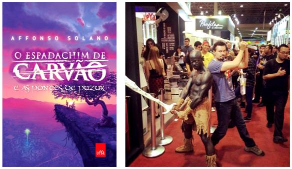 A capa do segundo volume da série e Solano com seu herói - Cosplay de Diego Henrique
