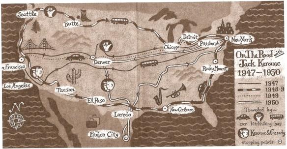Mapa das Viagens de Kerouac e Cassady que inspiraram Pé na estrada