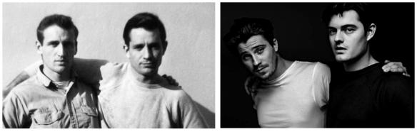 Kerouac e Cassady e os atores Hadlund e Riley na versão fílmica de Pé na estrada dirigida por Walter Salles